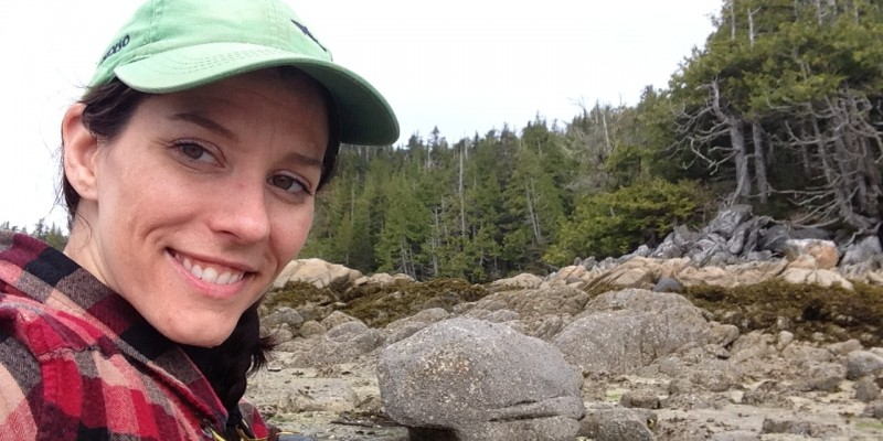 Archaeology professor Dr. Meghan Burchell in the field on North Calvert Island, B.C.