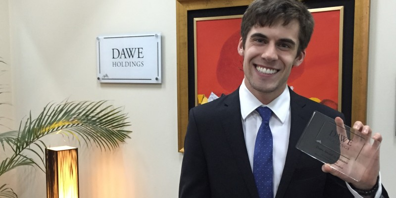 Alumnus Michael Gremley holds the Dawe Holdings Finance Award.