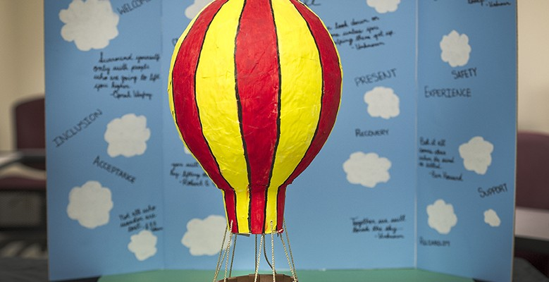 A hot air balloon created by a School of Social Work student.