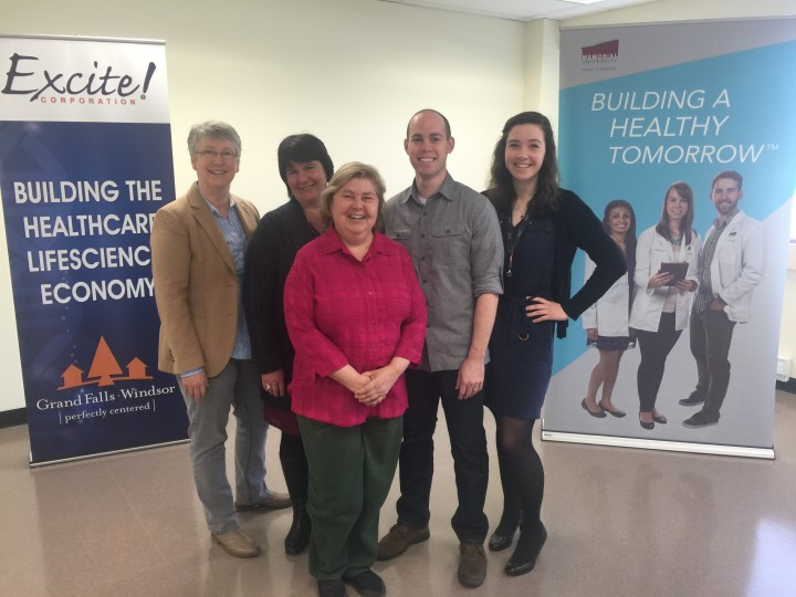 From left Dr. Terry-Lynn Young, principal investigator, Memorial; Anne Griffin, audiologist and research associate, Memorial; Dr. Sue Stanton, research associate, University of Western Ontario; Matthew Lucas, PhD candidate, University of Western Ontario; and Sarah Predham, genetic counsellor, Memorial.