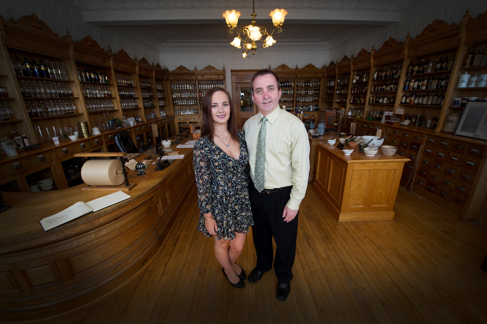 From left, Meghan and Ray Gulliver in the Apothecary Museum in St. John's.