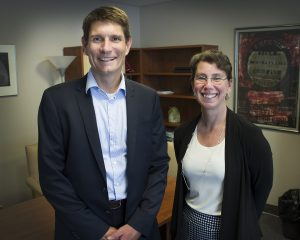 From left are Dr. Richard Isnor and Dr. Aimée Surprenant.