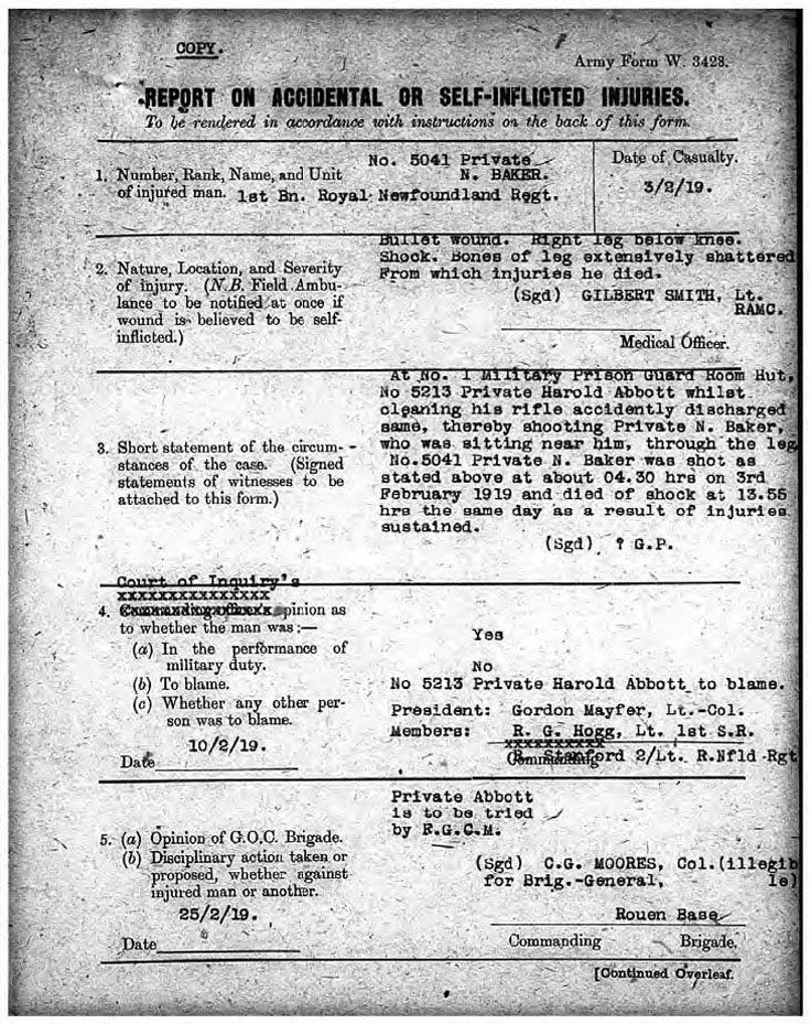 Private Baker's death certificate.