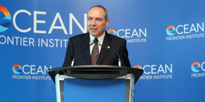 Dr. Richard Marceau at Sept. 6, 2016, news conference announcing creation of the Ocean Frontier Institute.
