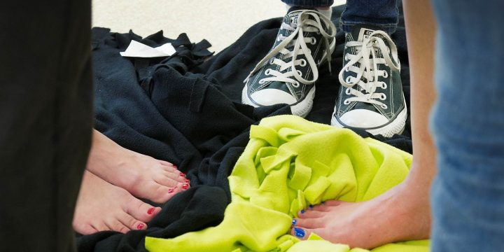 Students participate in the Blanket Exercise in the School of Social Work.
