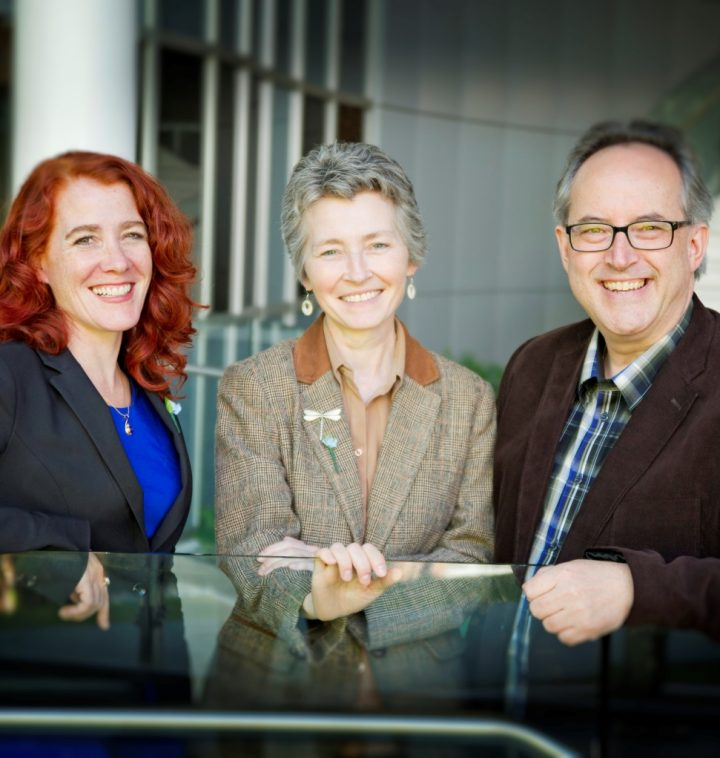 From left are Dr. Laura Robinson, Dr. Michele Piercey-Normore and Prof. Todd Hennessey.