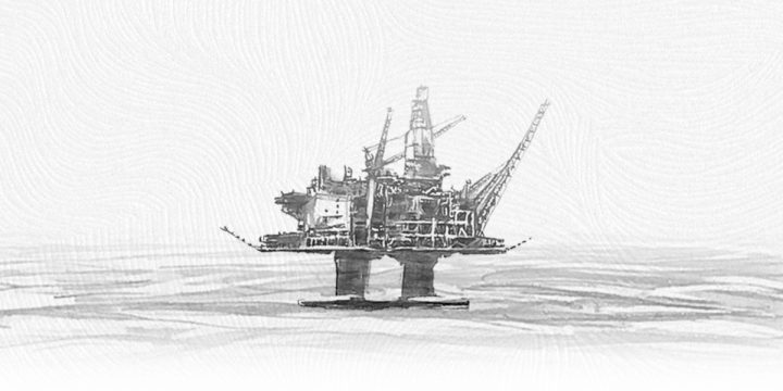 An illustration of an oil rig in icy conditions.