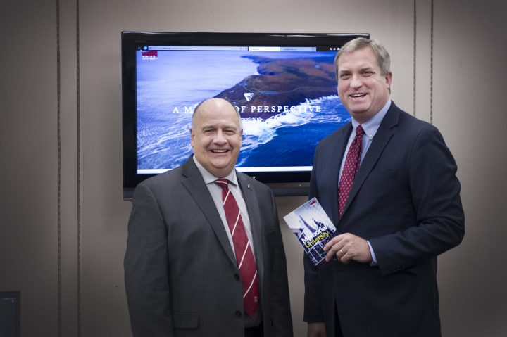 President Kachanoski shares the 2016 Presidents Report with Gerry Byrne, provincial minister of Advanced Education, Skills and Labour.
