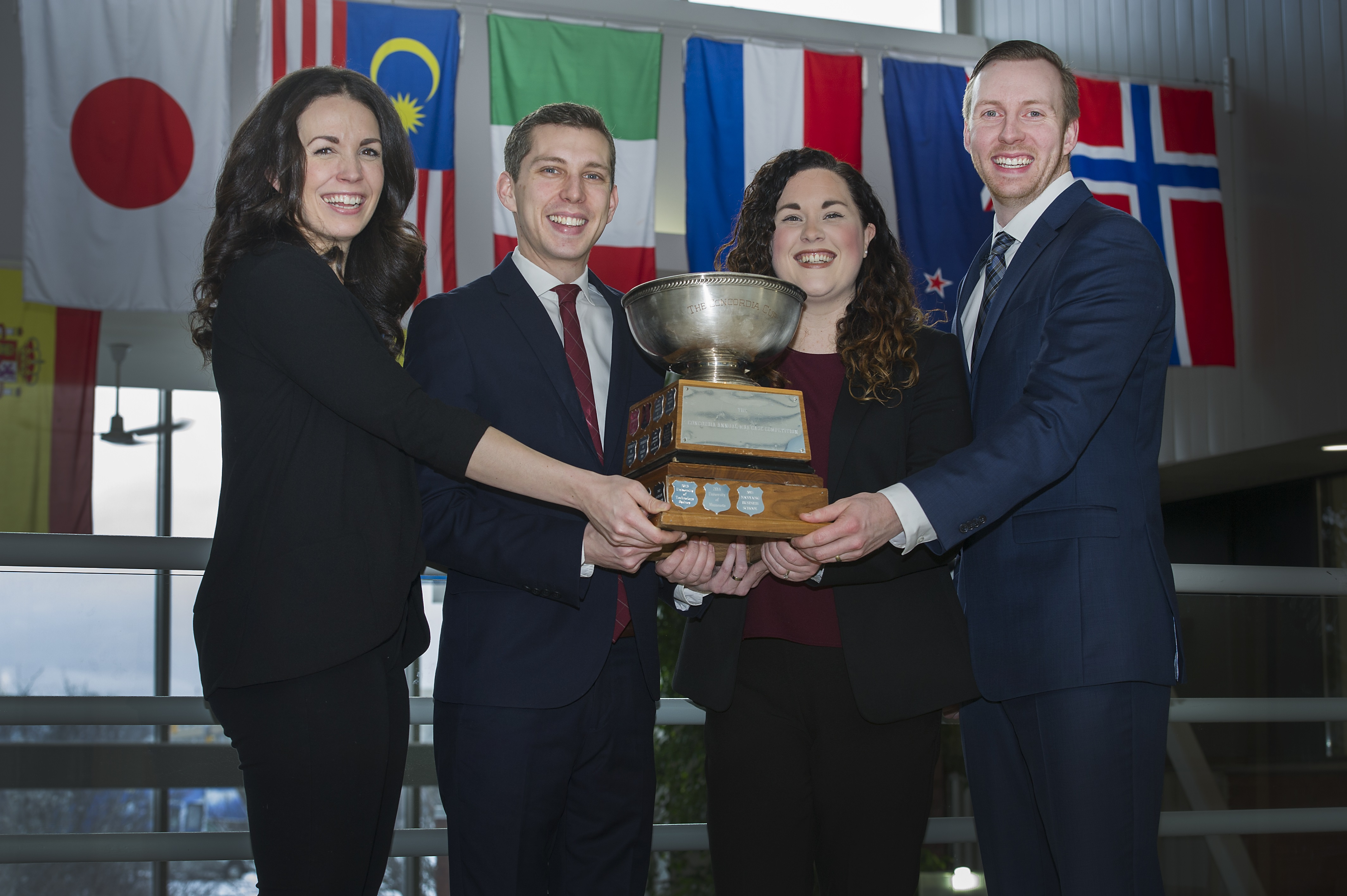 From left are Kate Boland, Nick Lane, Stephanie Daley and Greg Piercey in the Business building.