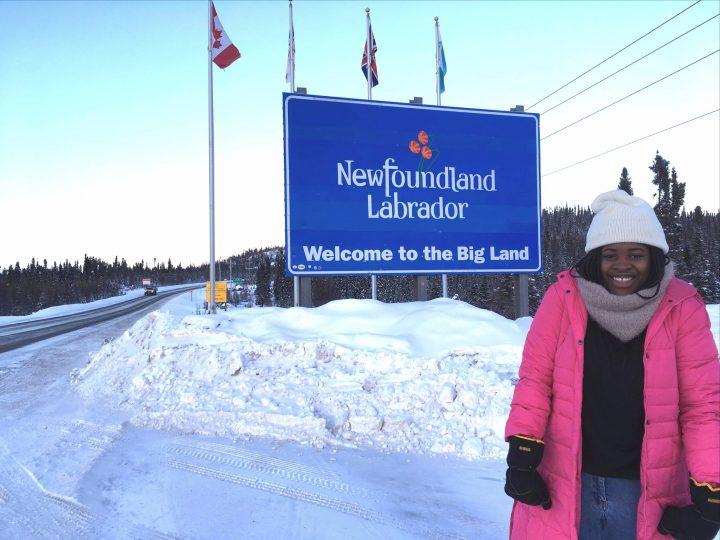 Business student Joyce Monjimbo in Labrador City this past December.