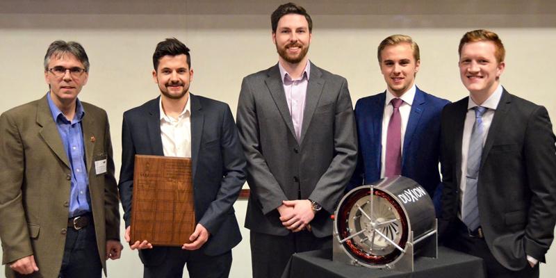From left, Dr. Yuri Muzychka and the DuXion team Trevor Forward, Adam Keating, Adam Parsons and Justin Wheeler.