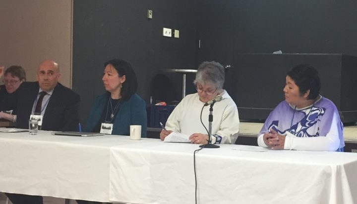 From left are Todd Russell, NunatuKavut Community; Catharyn Andersen, Memorial University; Patricia Kemuksigak, Nunatsiavut Government; and Anastasia Qupee, Innu Nation, during a panel session at the conference.