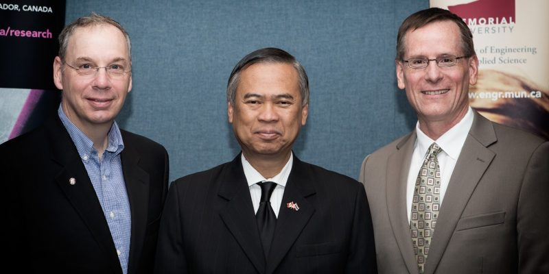 Dr. Ray Gosine, Vice-President (Research) Pro Tempore Thai Ambassador to Canada, Vijavat Isarabhakdi, Dr. Greg Naterer, Dean, Faculty of Engineering and Applied Science