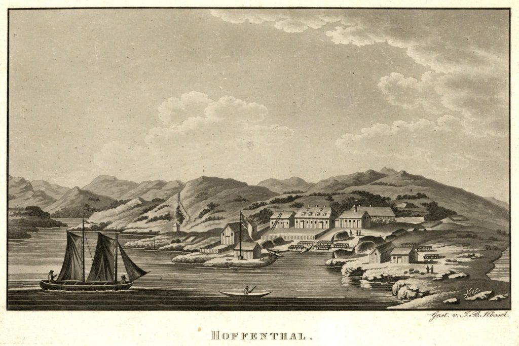 aquatint engraving of Hopedale ca 1800