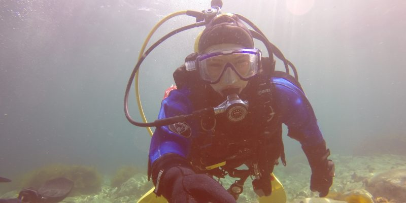 Emilie Novaczek SCUBA diving in Conception Bay