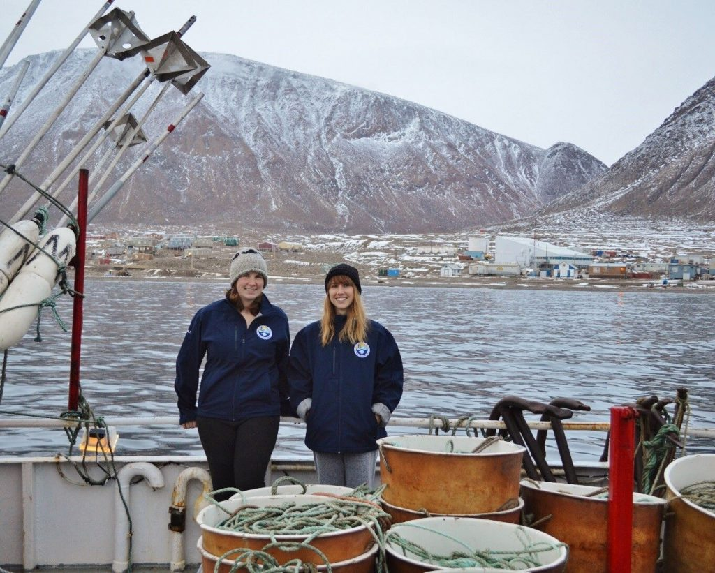 From left, Brynn Devine and study co-author Laura Wheeland on a research vessel in Arctic Bay, Baffin Island, Nunavut.