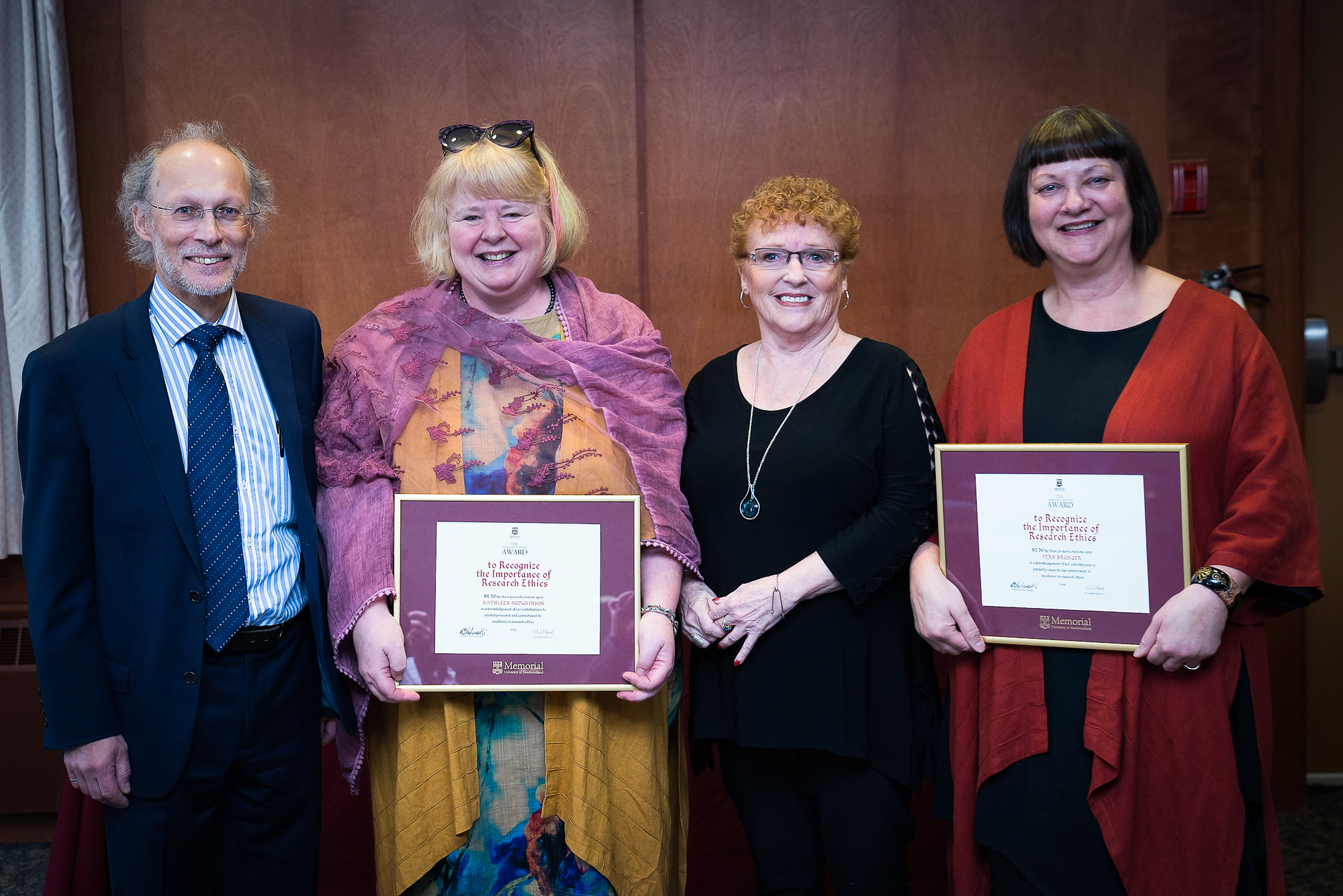 From left Dr. Neil Bose, Dr. Kathy Hodgkinson, Marilyn Harvey and Dr. Fern Brunger at a recent ceremony on the St. John's Campus.