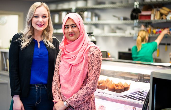 Aisha Penney, left, and Thanjida Akhter, pictured at The Network Cafe at the Newfoundland and Labrador Housing and Homelessness Network in St. John's.