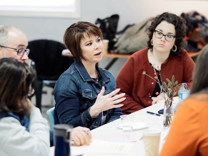 Sheila Fitzgerald during a discussion at the Fogo Island workshop.