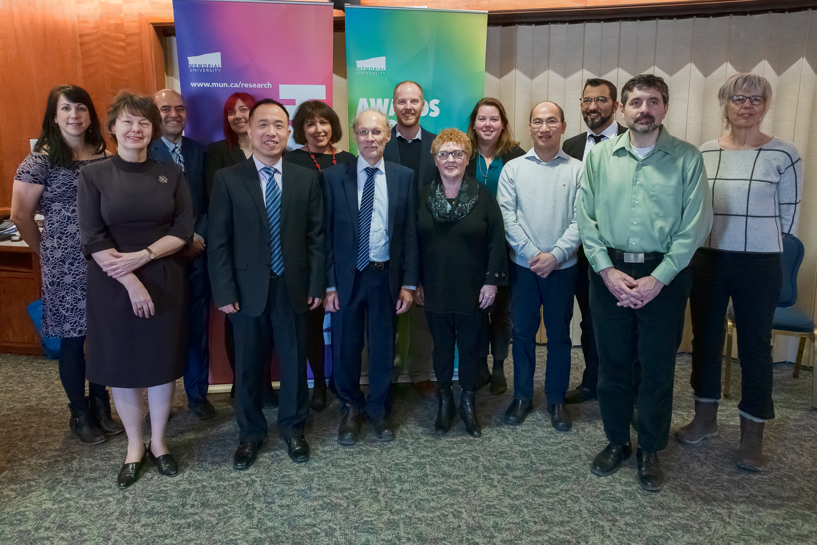 From left (front row) are: Dr. Kati Szego; Dr. Xili Duan; Dr. Neil Bose; Marilyn Harvey; Dr. Hai Nguyen; and Dr. Nicholas Welch. From left (back row) are: Dr. Katleen Robert; Dr. Faisal Khan; Karen Kelly; Dr. Noreen Golfman; Dr. John Jamieson; Dr. Rachel Sipler; Dr. Touati Benoukraf; and Dr. Uta Passow.