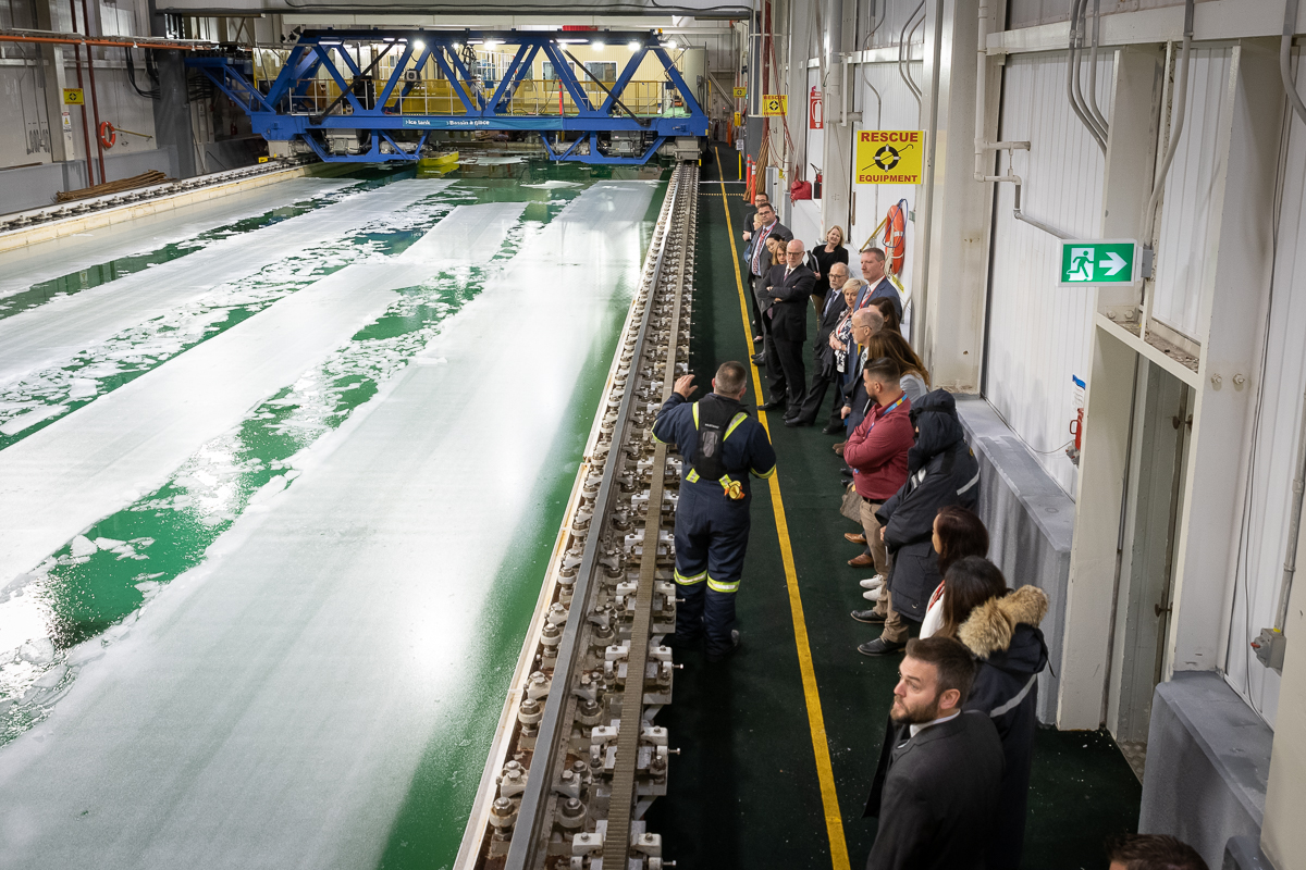 Guests during the Karluk Collaboration Space opening also toured research facilities, including the NRC's Ice Tank, one of the largest ice tanks in the world.