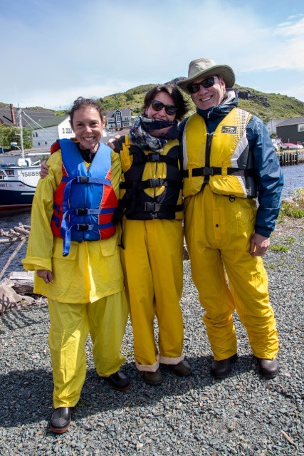 From left Drs. Melea Press, SKEMA Business School, Lille, France; Maud Herbert, University of Lille; and John Schouten at Island Rooms, Fishing for Success, Petty Harbour.
