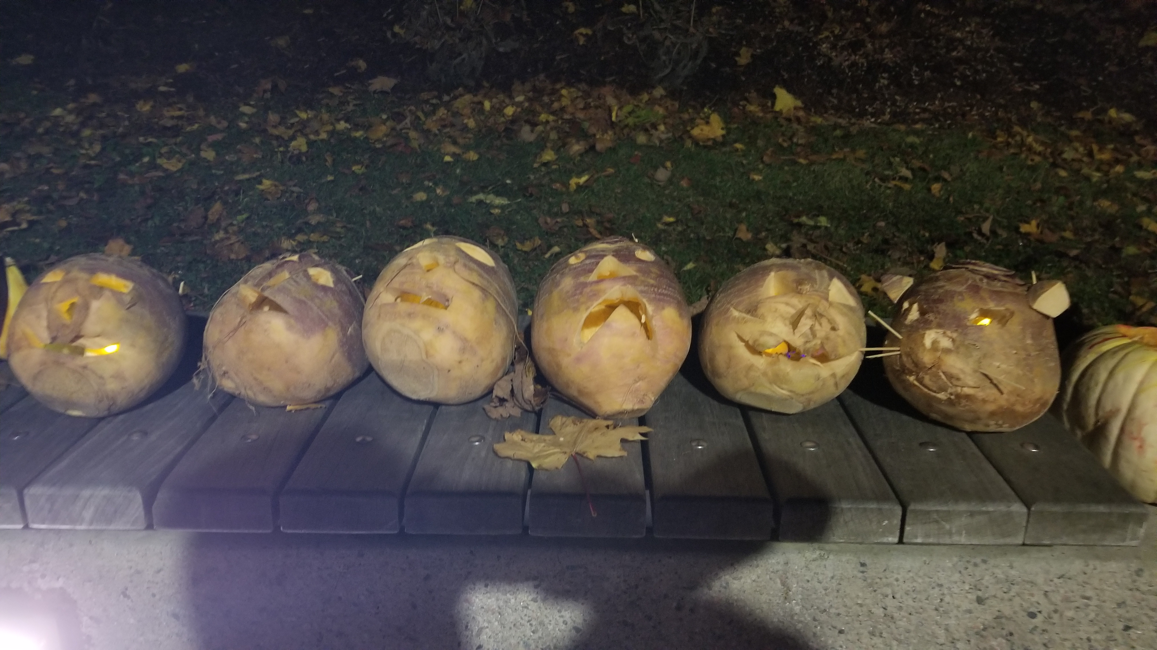 Carved turnips at the annual Pumpkin Walk