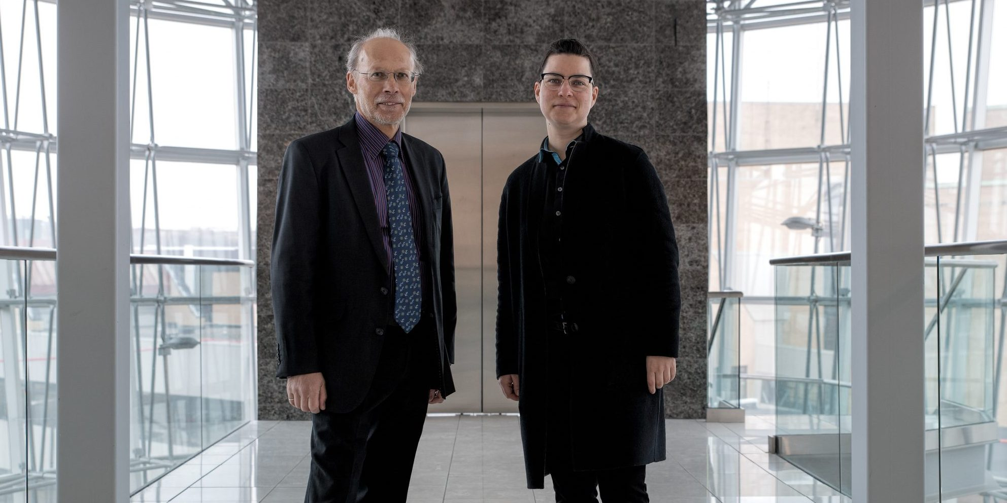 From left are Dr. Neil Bose, vice-president (research) and Dr. Max Liboiron.