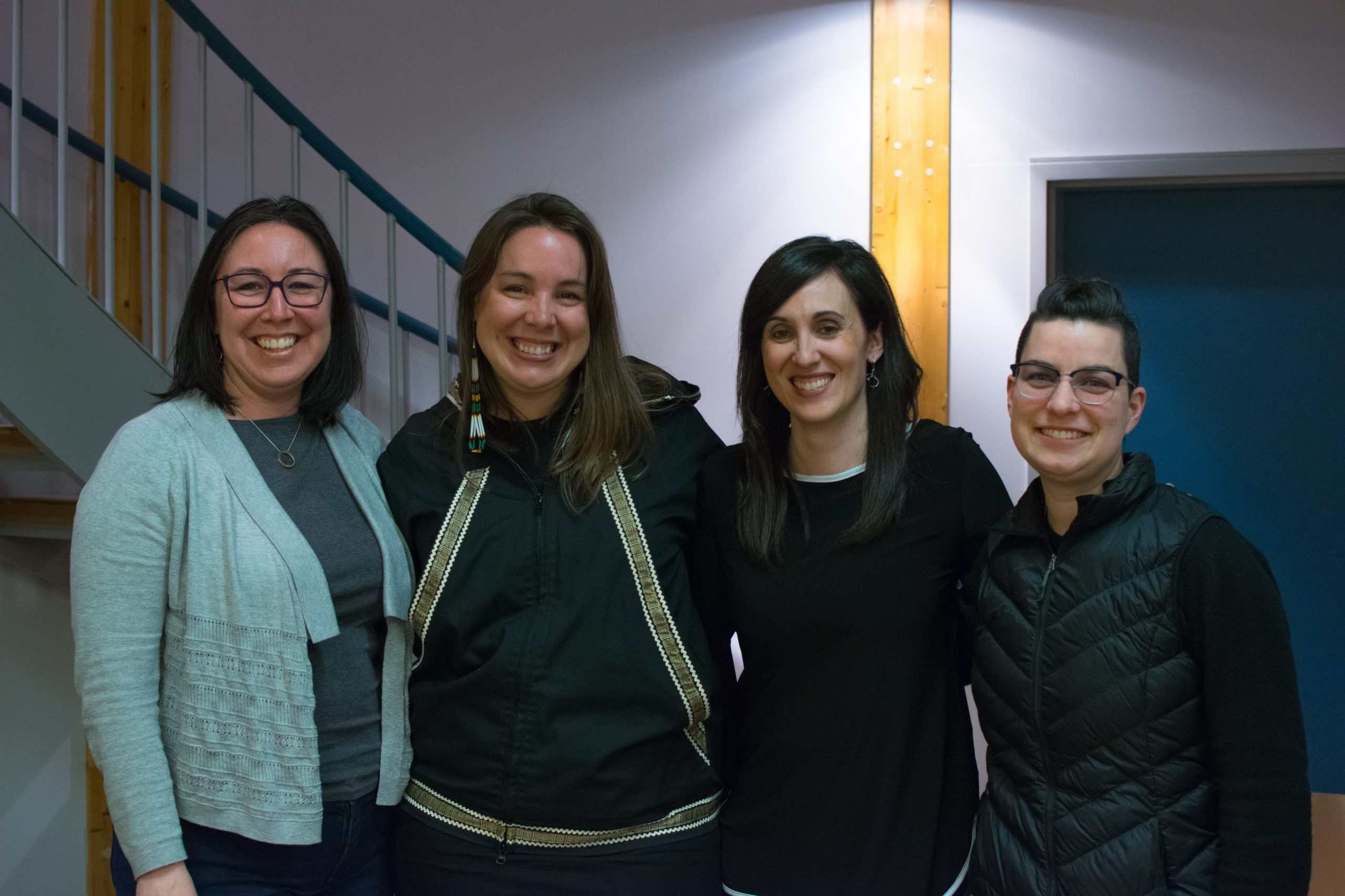 From left are Catharyn Andersen, Dr. Eve Tuck, Dr. Ashlee Cunsolo and Dr. Max Liboiron.